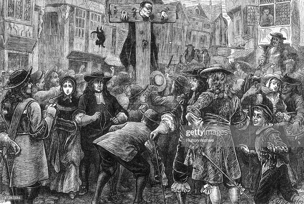 Circa 1685, English perjurer Doctor Titus Oates (1649 - 1705) in the pillory at the Temple gate for his involvement in the Popish Plot. His false confession led to the trial and death of about 35 people between 1678 and 1683. In 1685 Oates was found guilty of perjury
