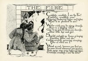 fire poem, laura e richards, albertine randall wheelan, vintage children clipart, free black and white clip art, boy girl fireplace image