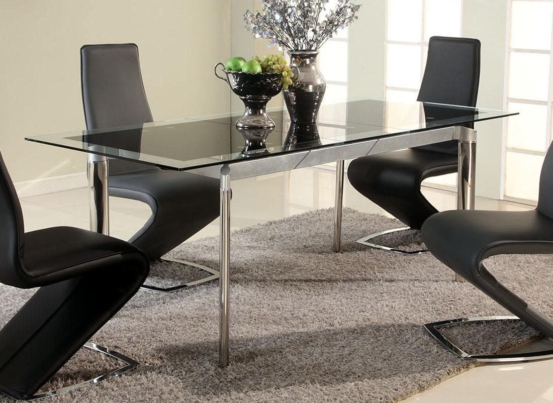 Black Glass Extendable Dining Table with Chrome Legs Philadelphia Pennsylvania CHTAR
