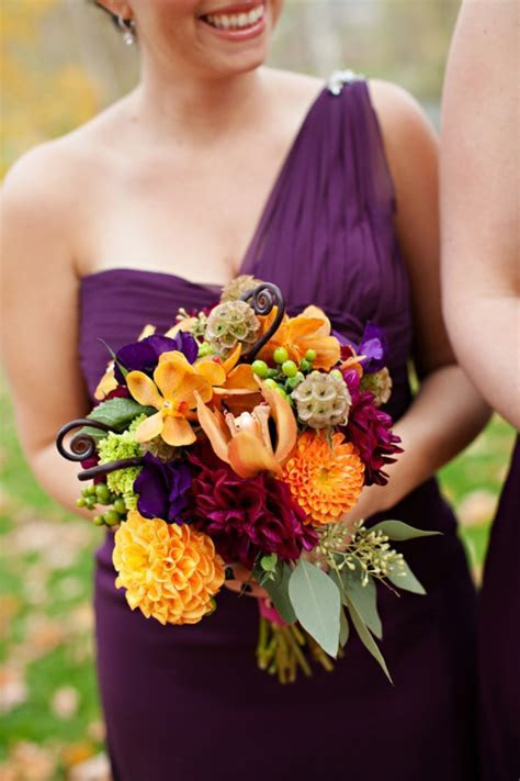 Plum And Orange Wedding Bouquets