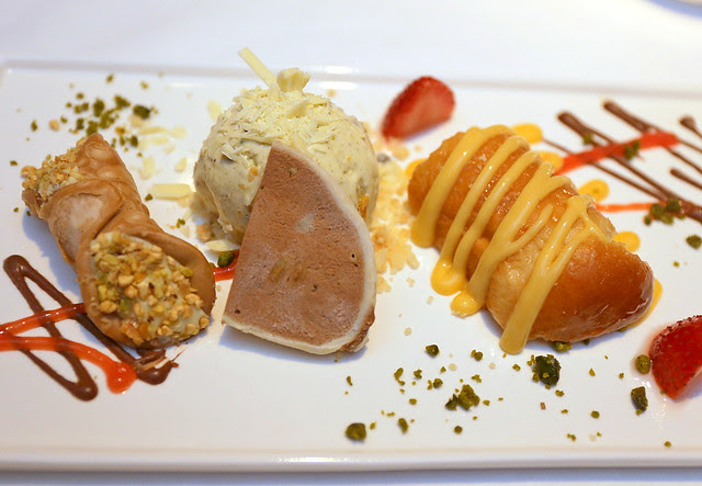 GRAN DESSERT: ZABAIONE (Zibibbo Sabayon Served with Marinated Strawberry and Traditional Baba), CANNOLO and CASSATA (Sicilian Cannoli and Ice Cream with Chocolate Chips Ricotta Cheese and Candied Fruits)