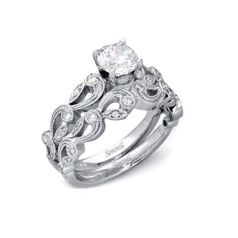 33ct Simon G Diamond Antique Style 18k White Gold