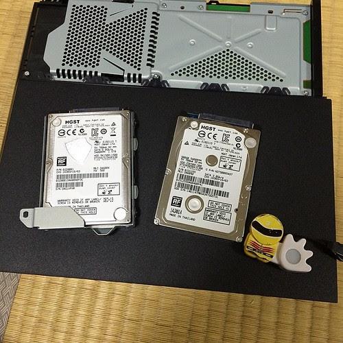 新しいHDDをねじで取り付けます