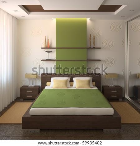 Modern Bedroom Interior. 3d Render. Stock Photo 5993540