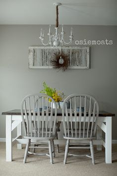 Farmhouse table: white legs, dark stain top, grey chairs???