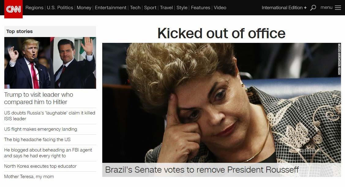 Site da CNN destaca impeachment de Dilma Rousseff (Foto: Reprodução/ CNN)