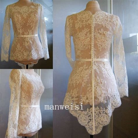 White Ivory Wedding Jacket Long Sleeves Lace Applique