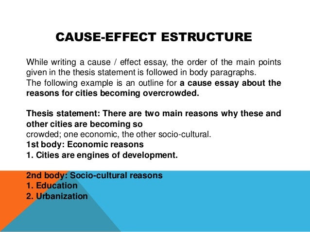 a thesis statement for cause and effect essay
