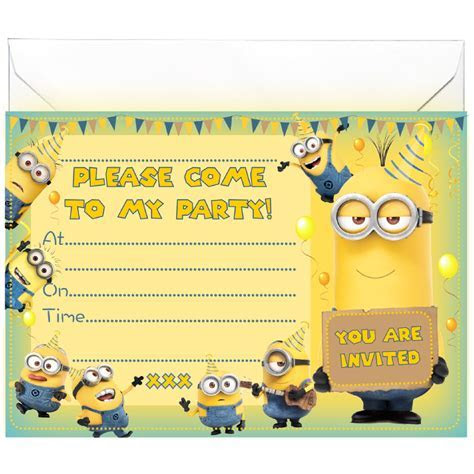 20 x Party Invitations inspired by Minions, All Ways