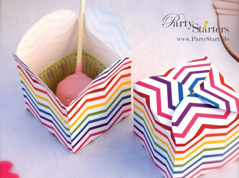 Rainbow Chevron Petal Favor Boxes