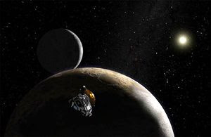 An artist's concept of NASA's New Horizons spacecraft venturing past Pluto and its main moon Charon.