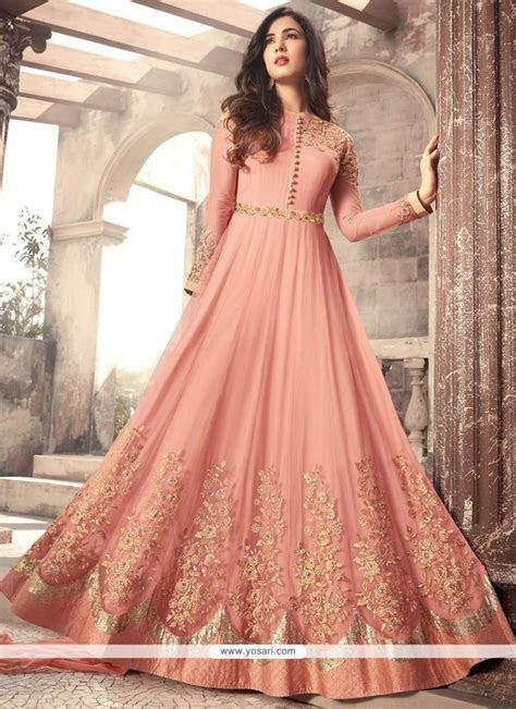 Buy Net Embroidered Work Floor Length Anarkali Suit