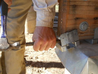Using Rebar to Hammer into Place a Foundation Beam Overhang Support Bracket