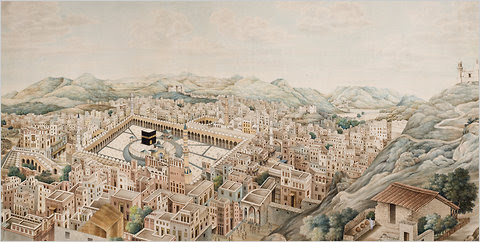 """""""Panoramic View of Mecca,"""" circa 1845, painted by Muhammad Abdallah."""