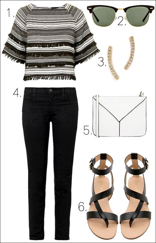 Le Fashion Blog How To Wear Fringe Striped Fringe Crop Top Ray Ban Clubmaster Sunglasses Pave Earrings White Bag Flat Sandals Spring Summer Style photo Le-Fashion-Blog-Striped-Fringe-Crop-Top-Ray-Ban-Clubmaster-Sunglasses-Pave-Earrings-White-Bag-Flat-Sandals-Spring-Summer-Style.jpg