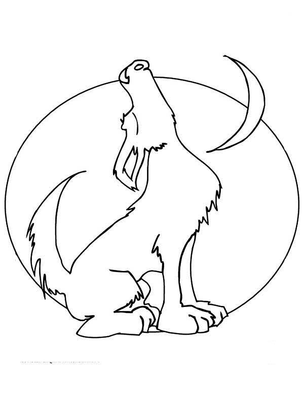 Howling Wolf and The Moon Coloring Page - Download & Print ...