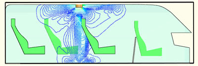 Изолинии модуля вектора скорости в салоне микроавтобуса. FloWorks