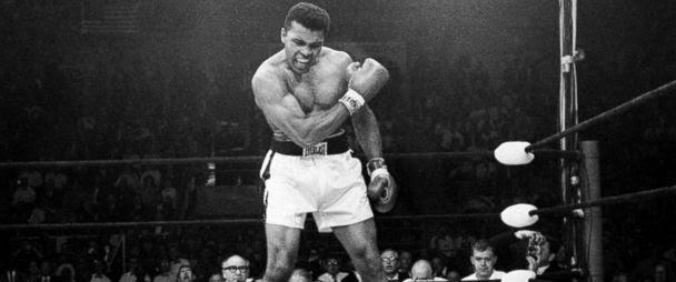 PHOTO: Heavyweight champion Muhammad Ali stands over fallen challenger Sonny Liston, May 25, 1965, in Lewiston, Maine.