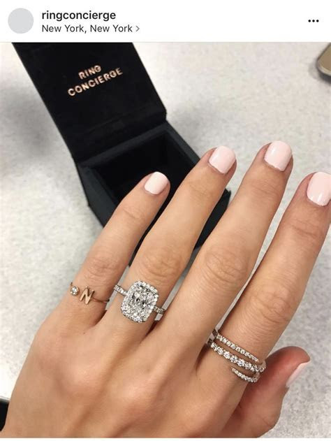 Elongated halo radiant cut engagement   The Big Day