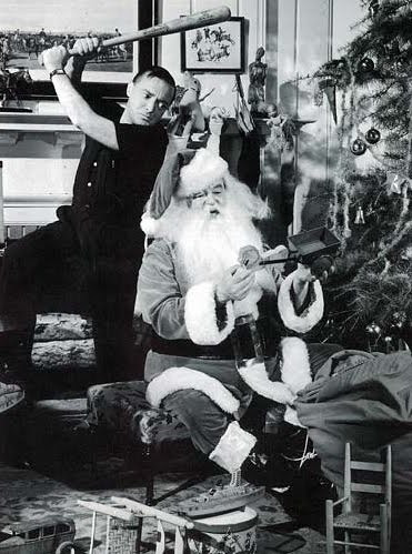 Peter Lorre,  a baseball bat and Sydney Greenstreet as Santa