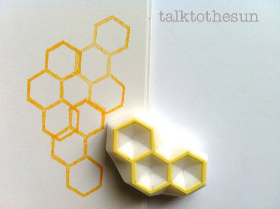 beehive hand carved rubber stamp - geometric rubber stamp - hand carved stamp - honey comb rubber stamp - talktothesun