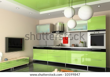 Home Interior Design on The Modern Kitchen Interior Design  3d Rendering  Stock Photo 10599847