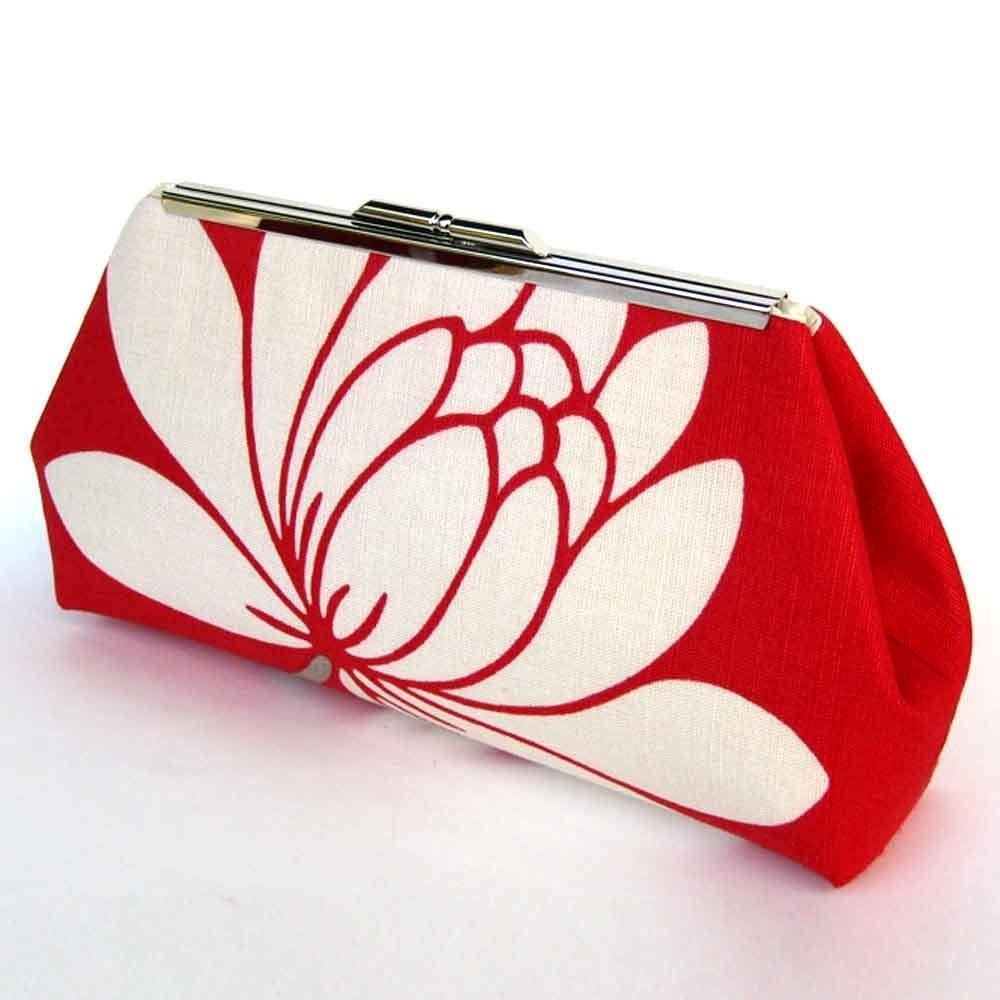 LOTUS FLOWER MODERN CLUTCH - Red Glazed Linen - PURE SILK LINING