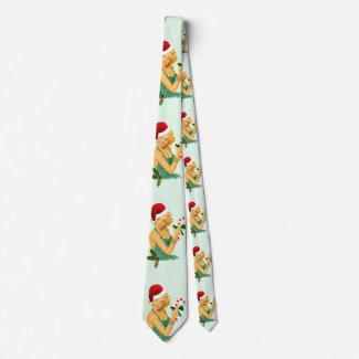 vintage pin up christmas neck tie