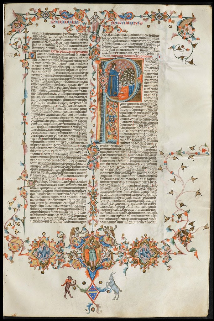 Anjou Bible folio with extra-textual decoration