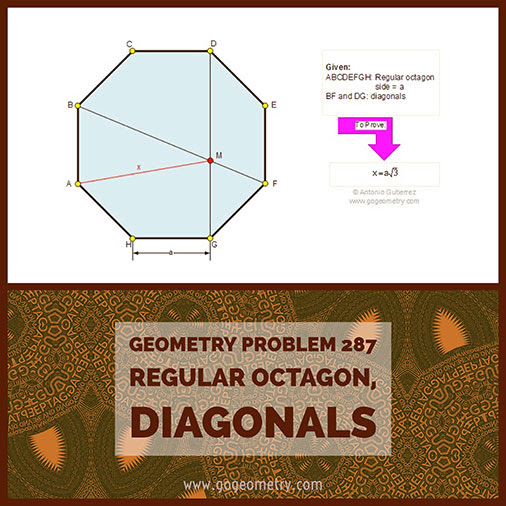 Geometric Art Typography of Geometry Problem 287: Regular Octagon, side and diagonal, iPad Apps.