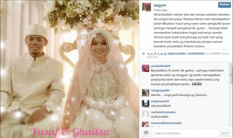 Foto Pernikahan Maulana Yusuf dengan Ghaitsa Zahira Sofa. http://nasional.republika.co.id/berita/nasional/umum/15/03/09/nkya1t-mahar-pernikahan-putri-aa-gym-hafalan-alquran-30-juz