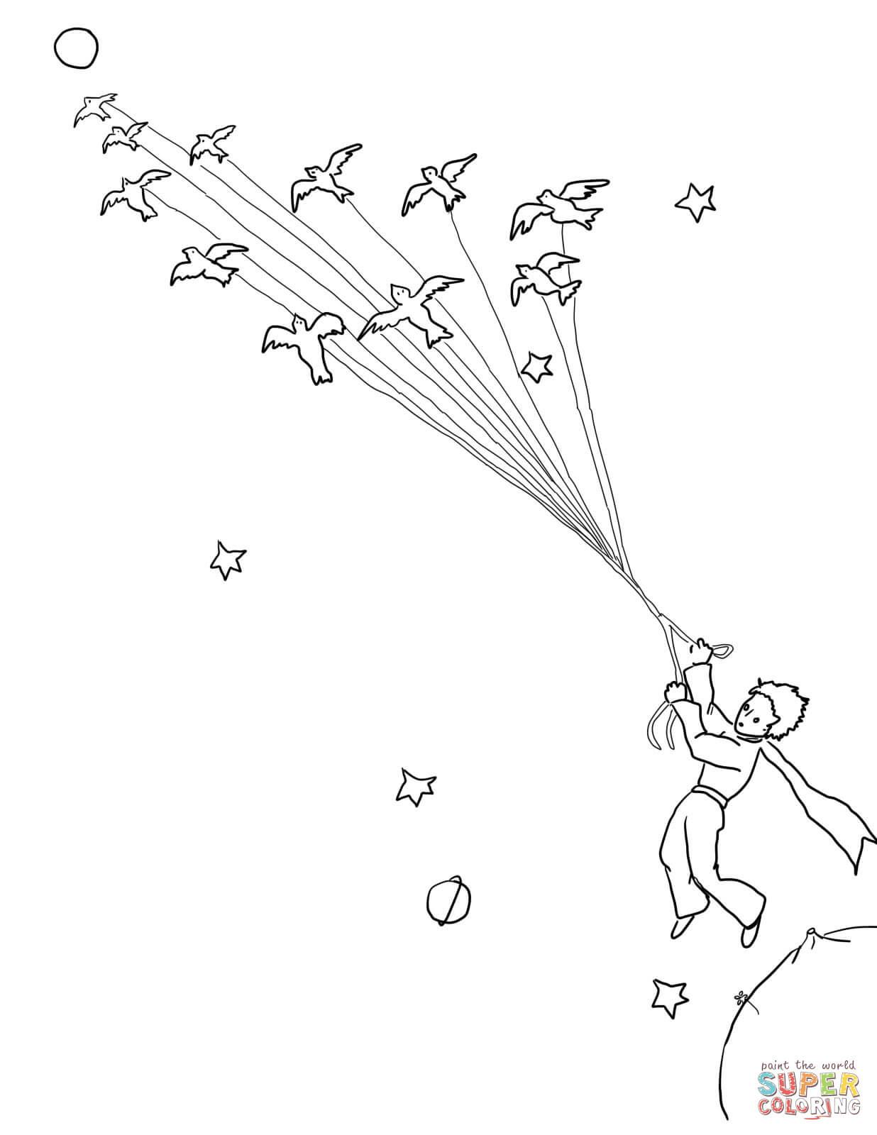 Klick das Bild Der kleine Prinz verlässt seinen Planeten mit den Zugvögeln