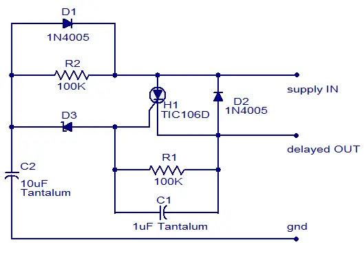 dc power delay circuit