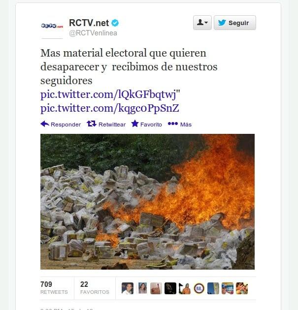 @RCTVenlinea utilizando imágenes viejas para denunciar falso fraude