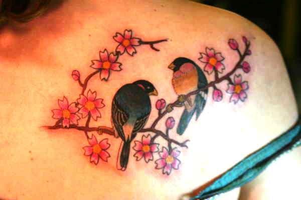 Cherry Blossom Tree And Birds Tattoo
