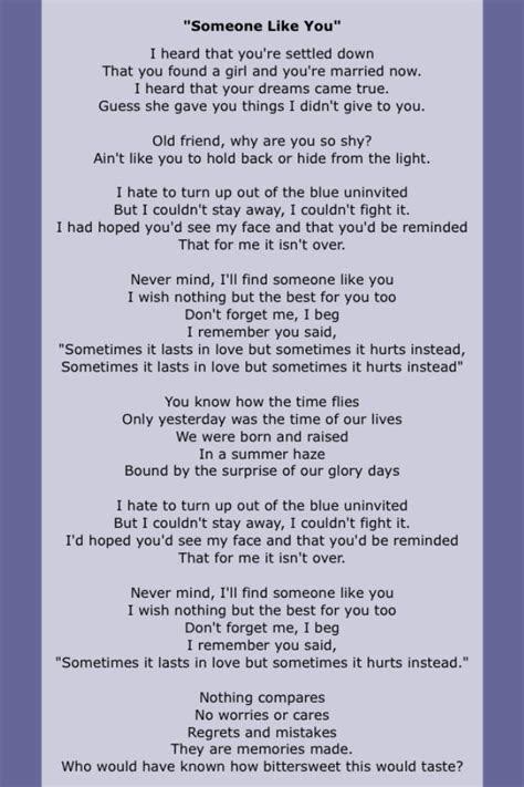 """Someone Like You"" by Adele.   Song Lyrics in 2019   Adele"