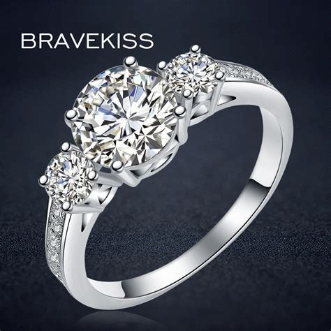 BRAVEKISS new cz stone accent engagement solitaire rings