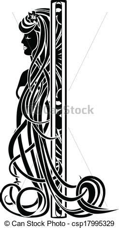 art nouveau girl  long hair decorative element