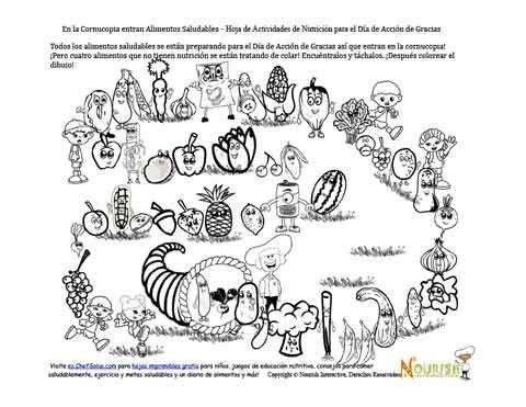 Hoja De Actividades Y De Colorear De La Cornucopia De Alimentos