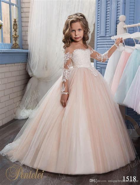 Kids Wedding Dresses 2017 Pentelei with Illusion Long