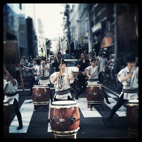 Taiko performance at Kappabashi for Tanabata Matsuri