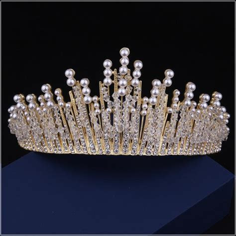 Crowns Tiaras Beaded Crown Headpieces For Wedding Wedding