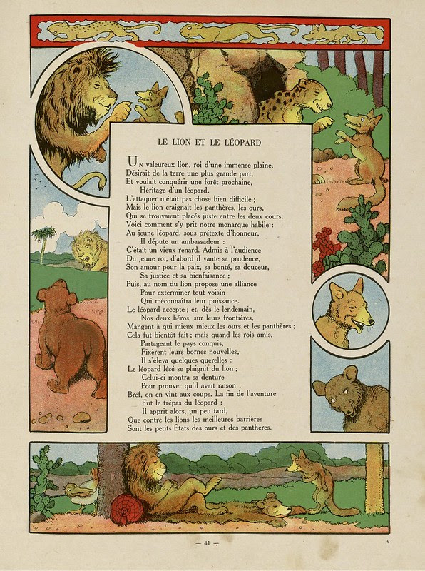 illustrated lion, tiger + bear vignettes adjacent to verse