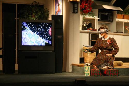 Grandma plays a virtual reality game