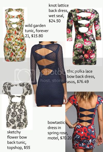 bow back dresses and tops