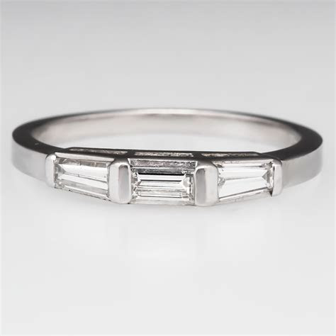 Vintage Tapered Baguette Diamond Wedding Band Ring