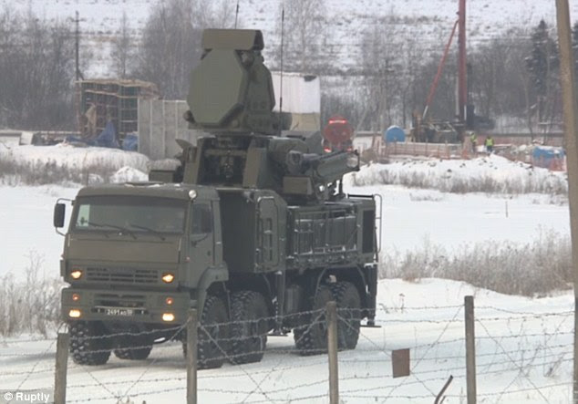 The Growler missiles (pictured, being deployed near Moscow) have now been deployed at Sevastapol in the Crimea