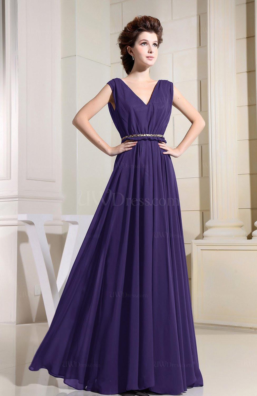 royal purple casual vneck sleeveless chiffon pleated