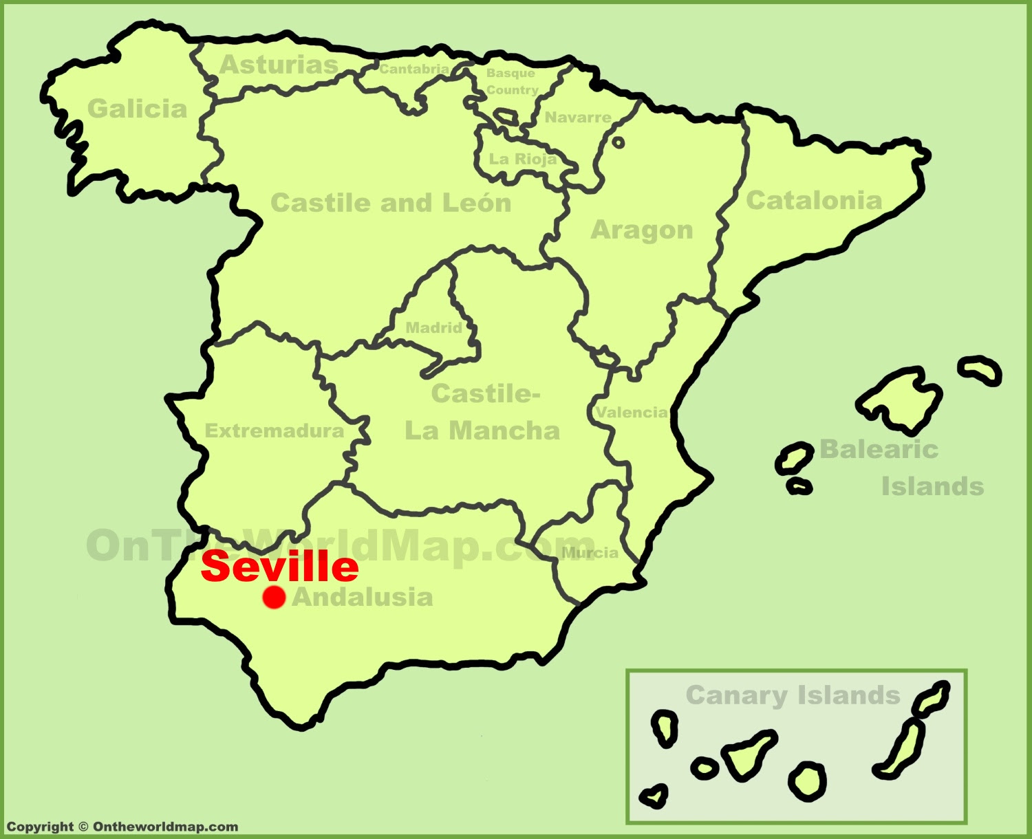 Map Of Spain Time Zones.Spain Map Seville Time Zones Map