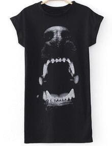 Black Short Sleeve Dog Animals Print Dress